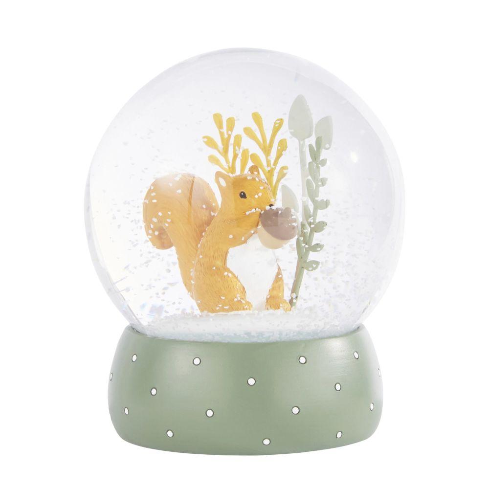 Boule à neige écureuil orange et vert