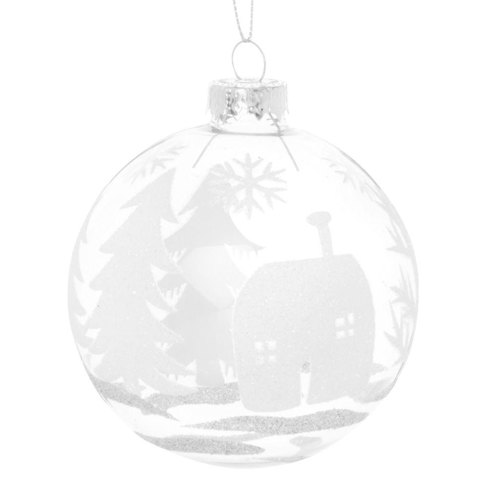 Boule à neige en verre transparent motif village blanc