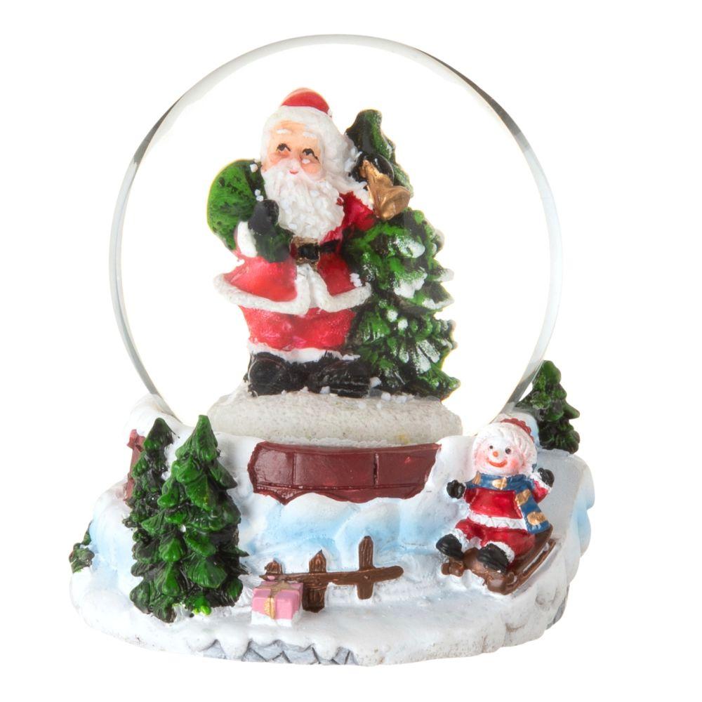 Boule à neige Père et Mère Noël rouges, verts et blancs