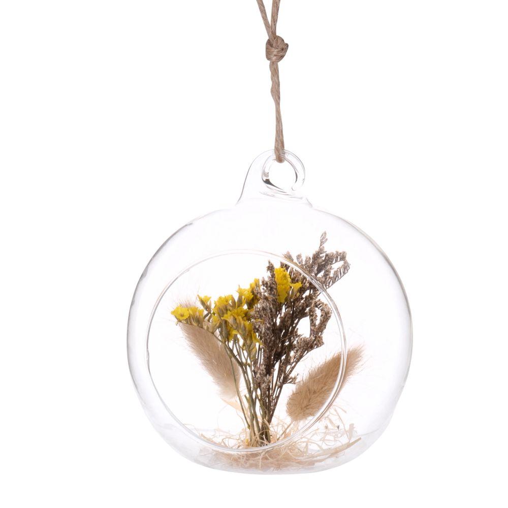Boule à suspendre en verre et fleurs séchées