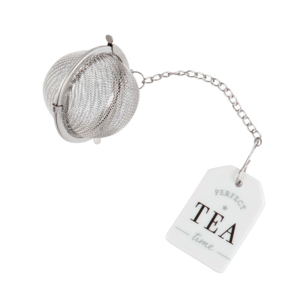Boule à thé en faïence blanche