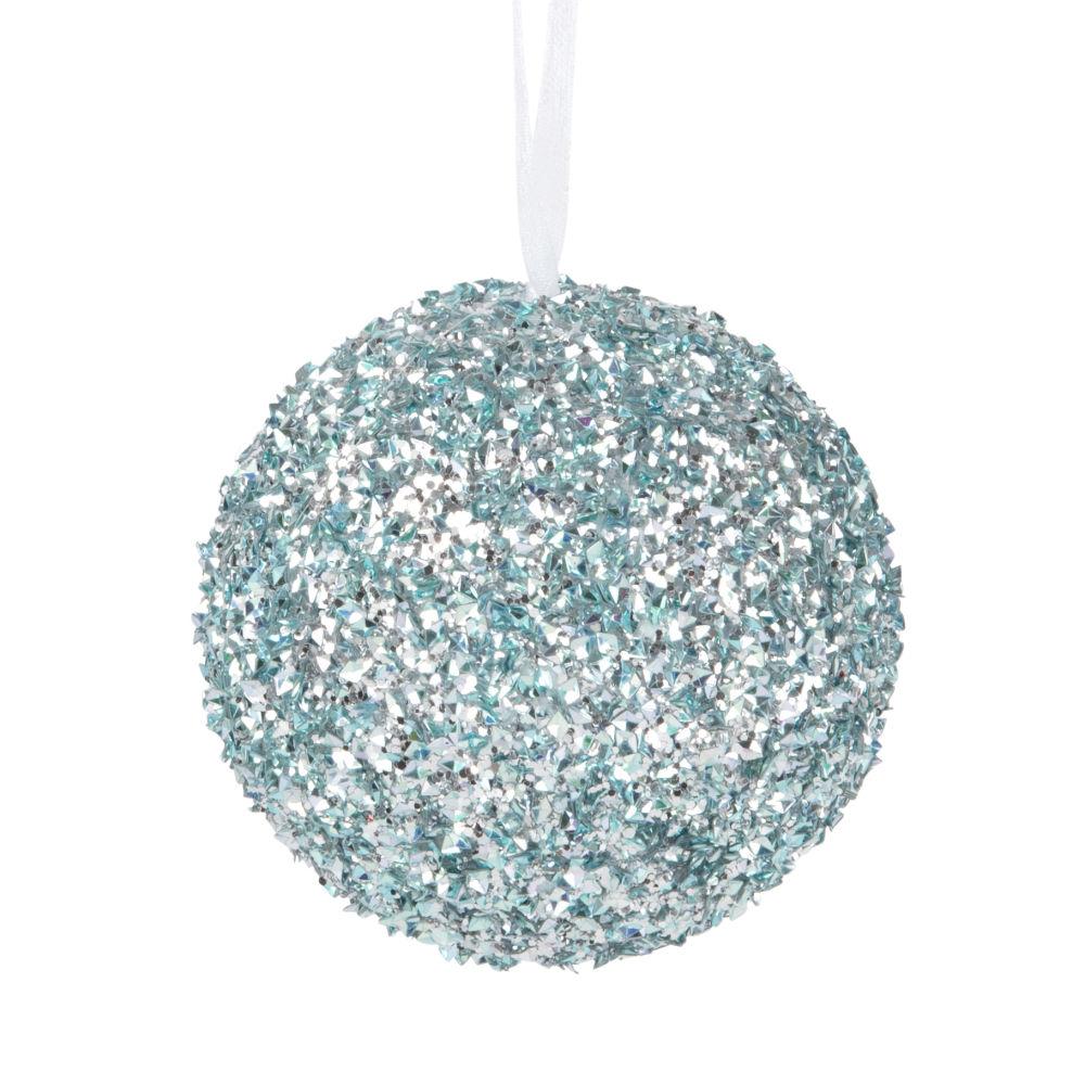 Boule de Noël à paillettes bleues