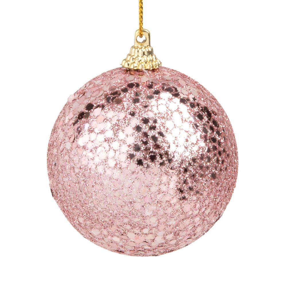 Boule de Noël à paillettes roses