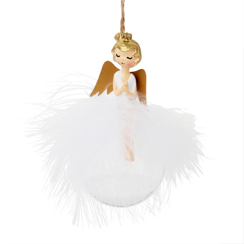 Boule de Noël ange et plumes