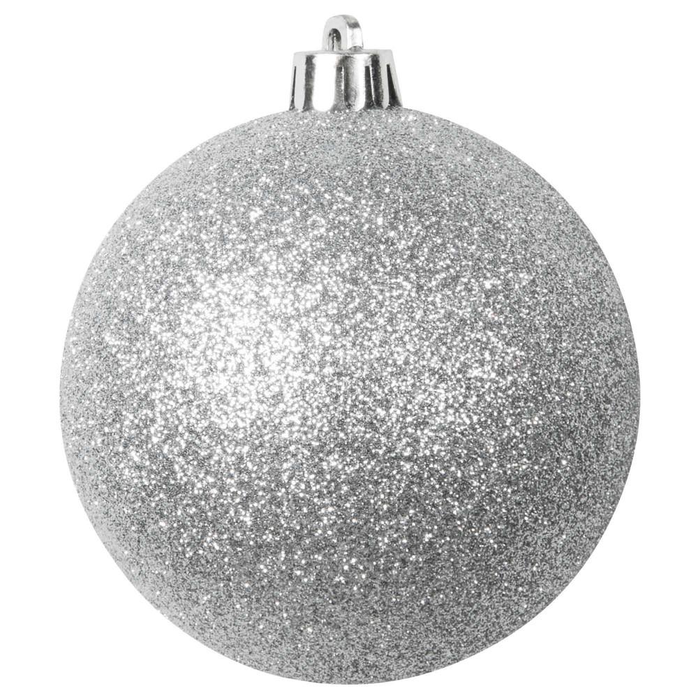 Boule de Noël argentée à paillettes