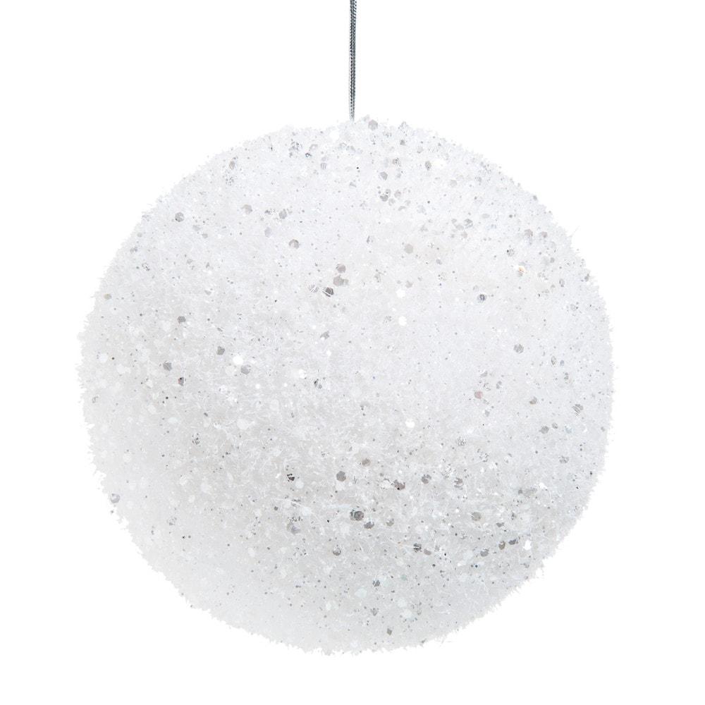 Boule de Noël blanche à paillettes irisées