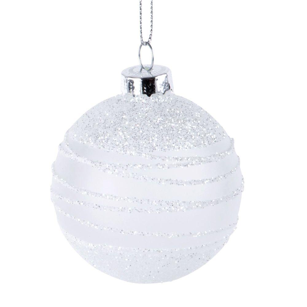 Boule de Noël blanche en verre à motifs et paillettes argentées