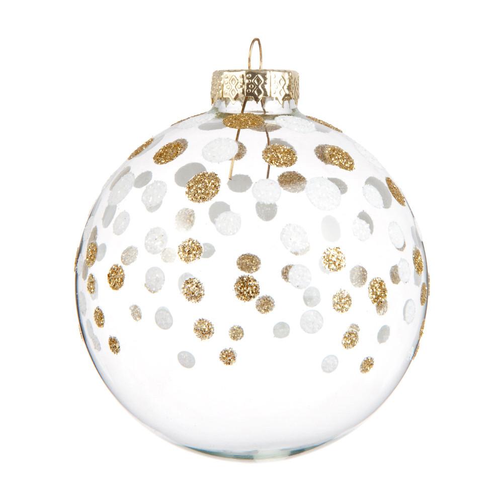 Boule de Noël blanche en verre motifs à pois dorés