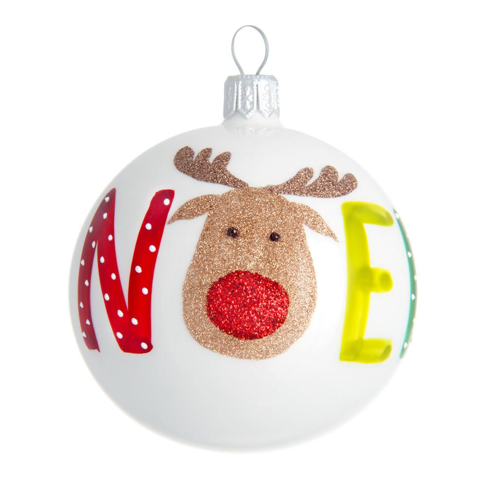 Boule de Noël blanche imprimé élan à paillettes dorées