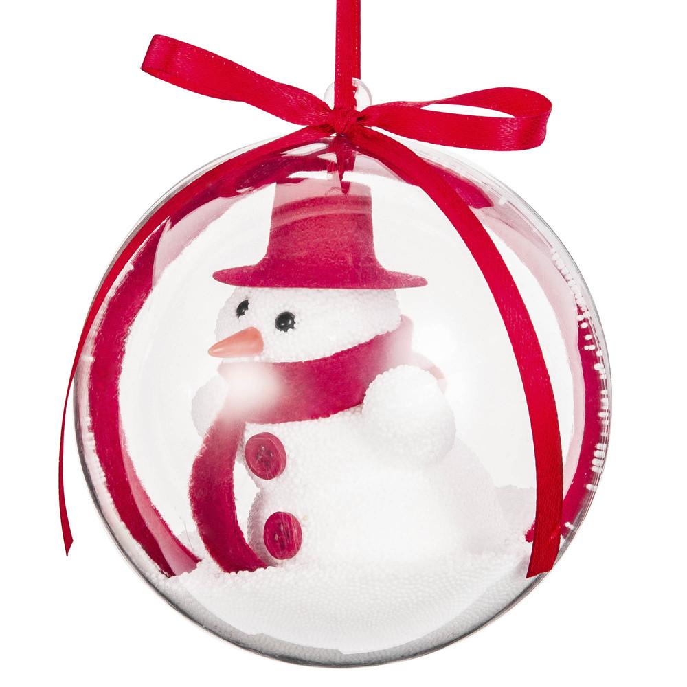 Boule de Noël bonhomme de neige blanc et rouge