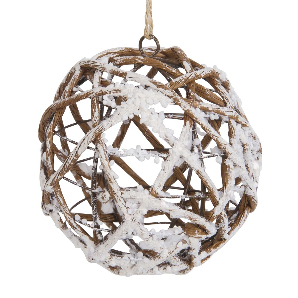 Boule de Noël branchage en métal et papier marron et blanc