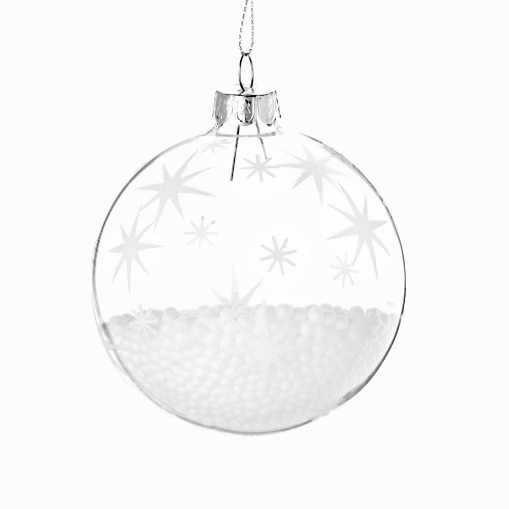 Boule de Noël effet neige imprimé étoiles