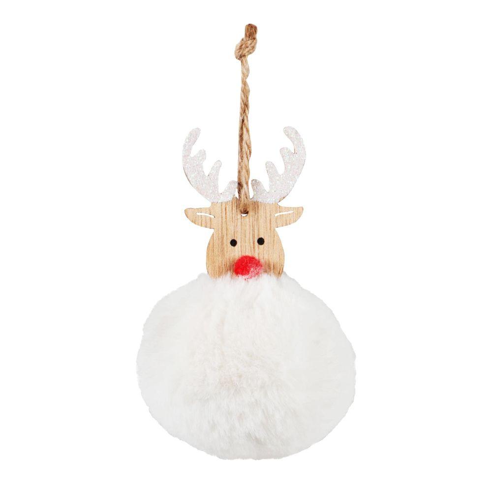 Boule de Noël élan beige et imitation fourrure blanche