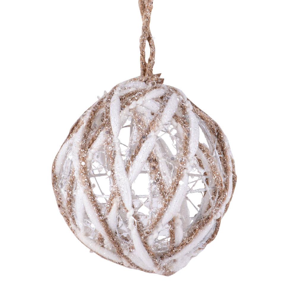 Boule de Noël en coton blanc et doré