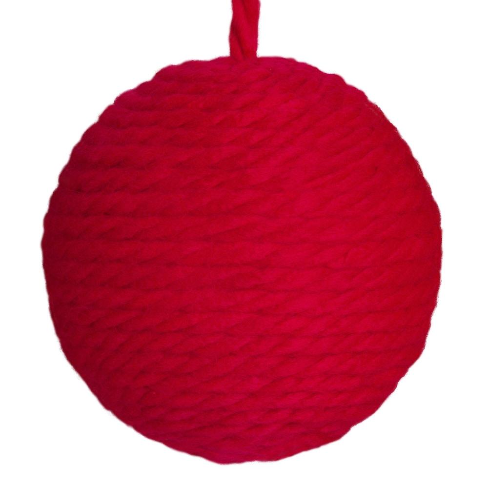 Boule de Noël en laine rouge