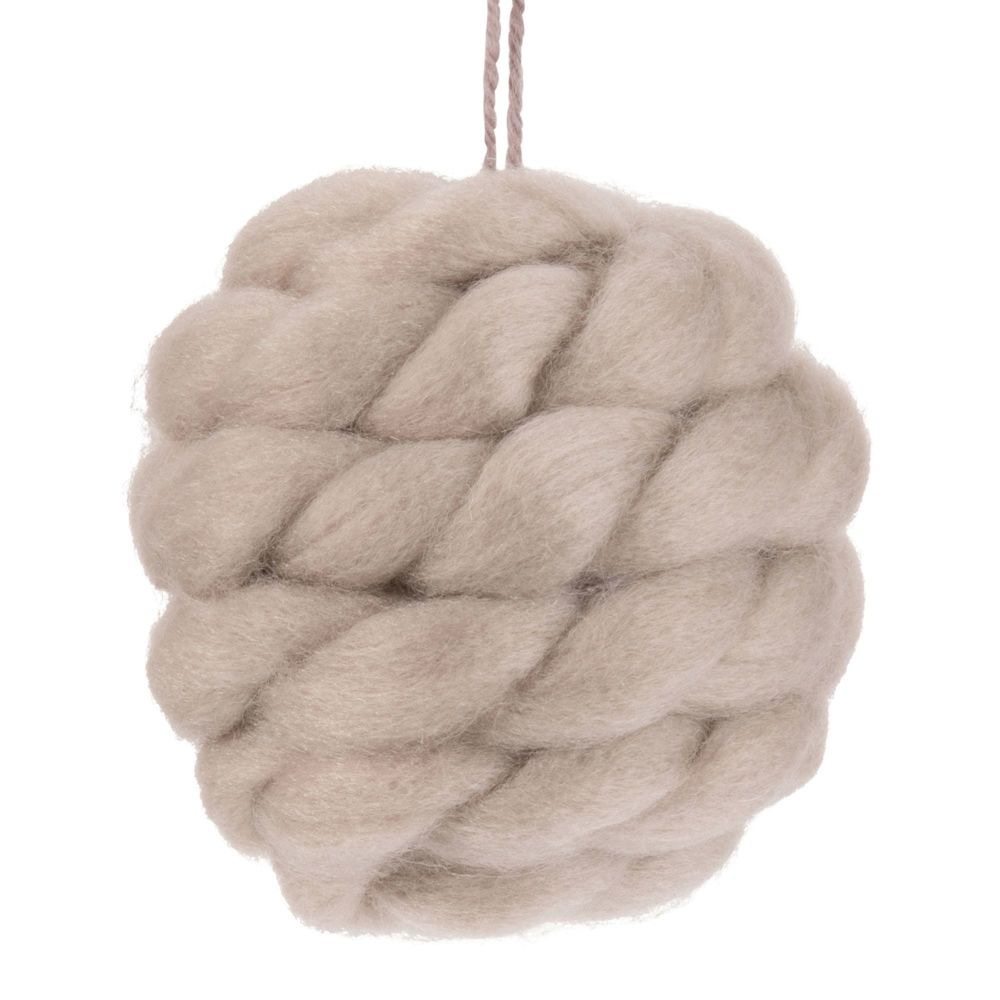 Boule de Noël en laine tressée taupe