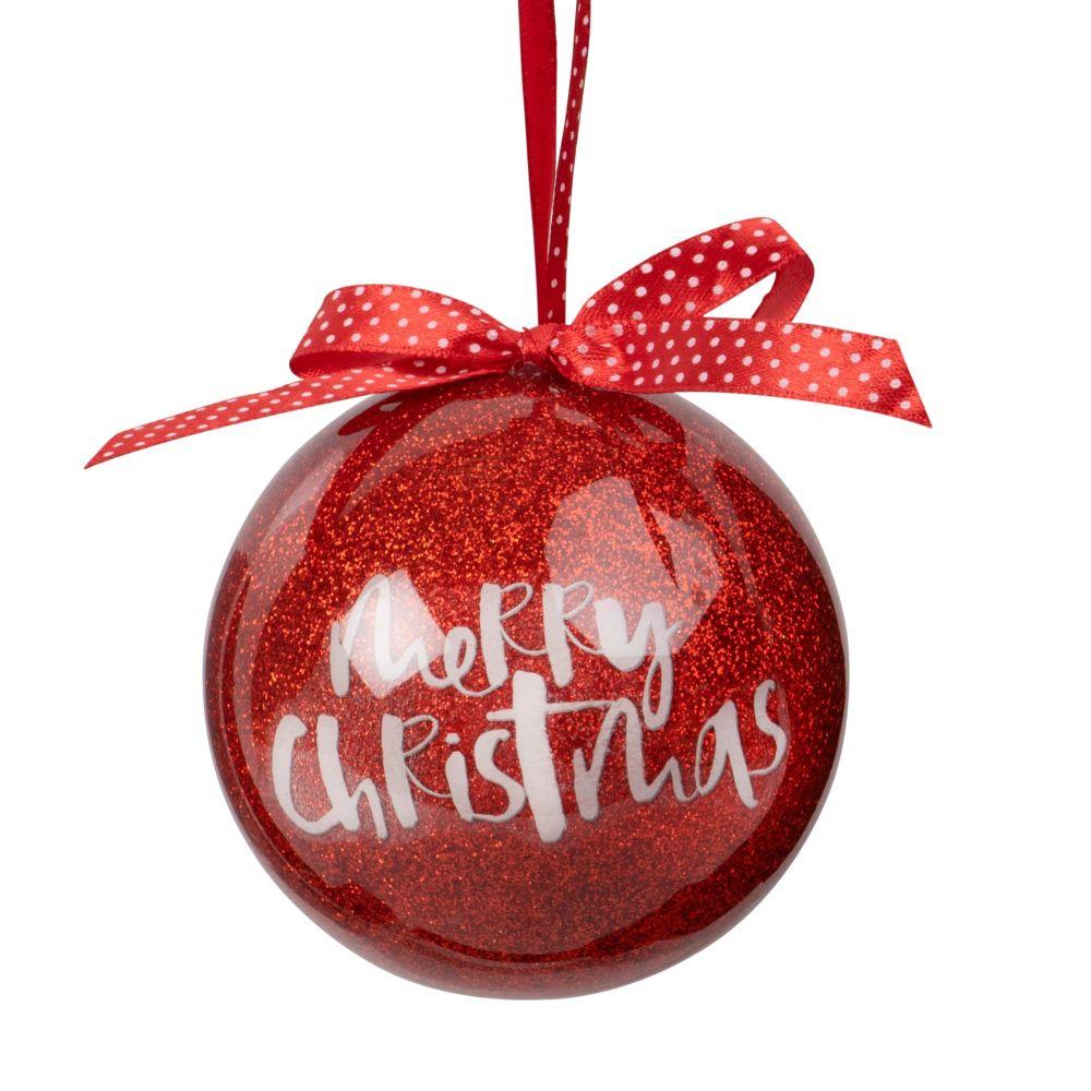 Boule de Noël en papier avec nœud rouge