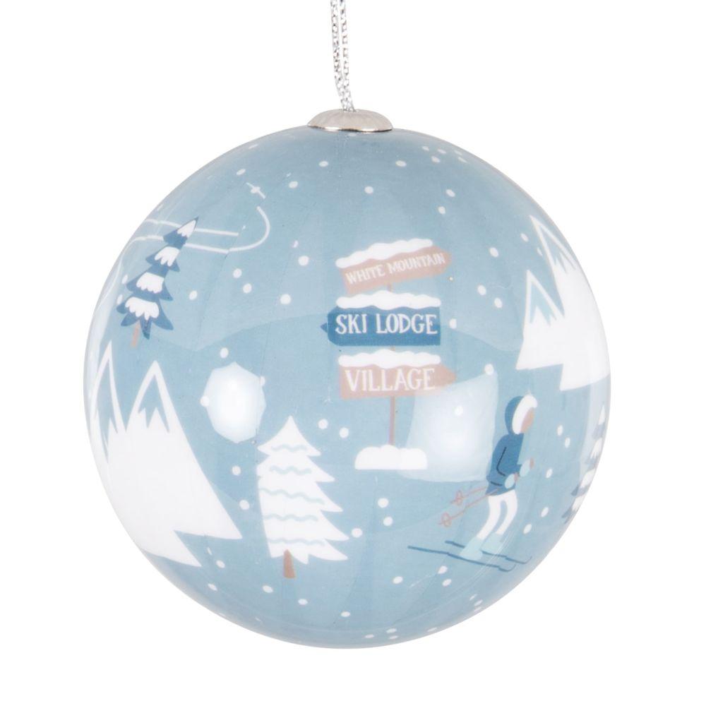 Boule de Noël en papier imprimé station de ski bleu et marron