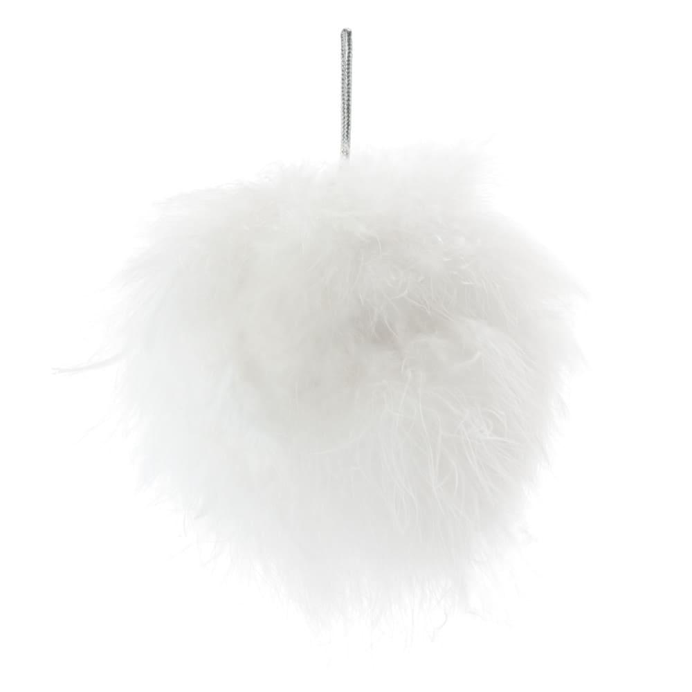 Boule de Noël en plumes de coton blanc