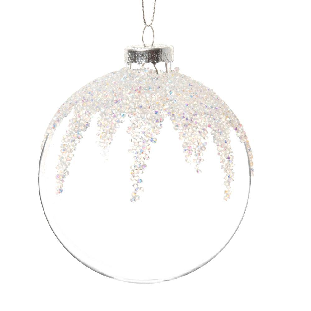 Boule de Noël en verre à paillettes blanches