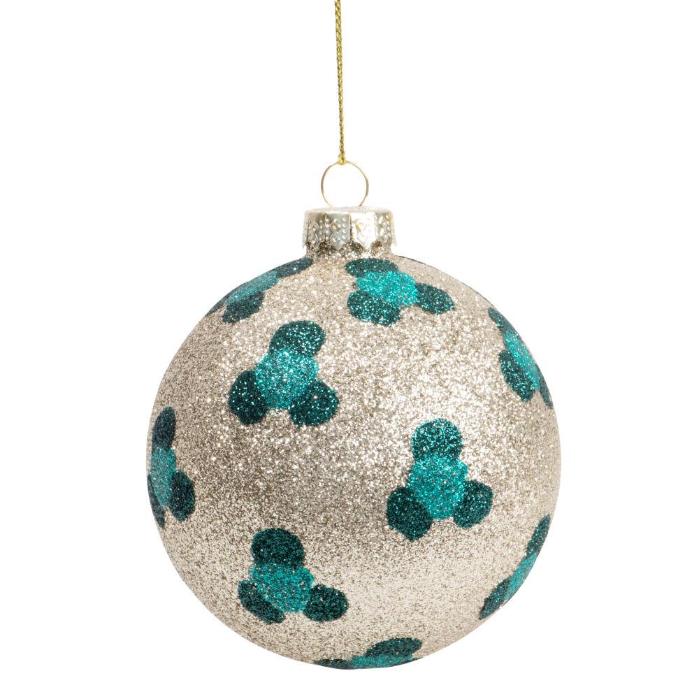 Boule de Noël en verre à paillettes dorées motif léopard bleu canard et noir