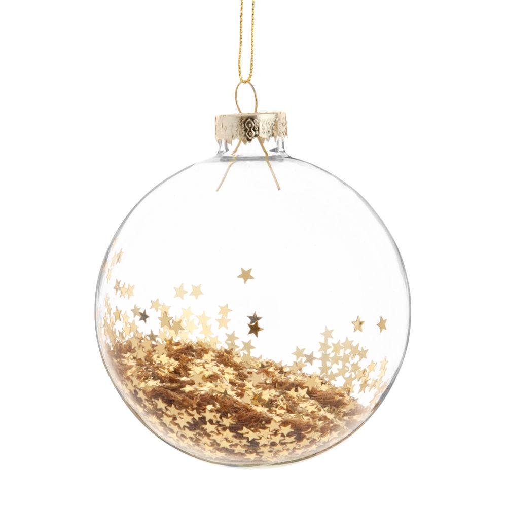 Boule de Noël en verre à paillettes étoiles dorées