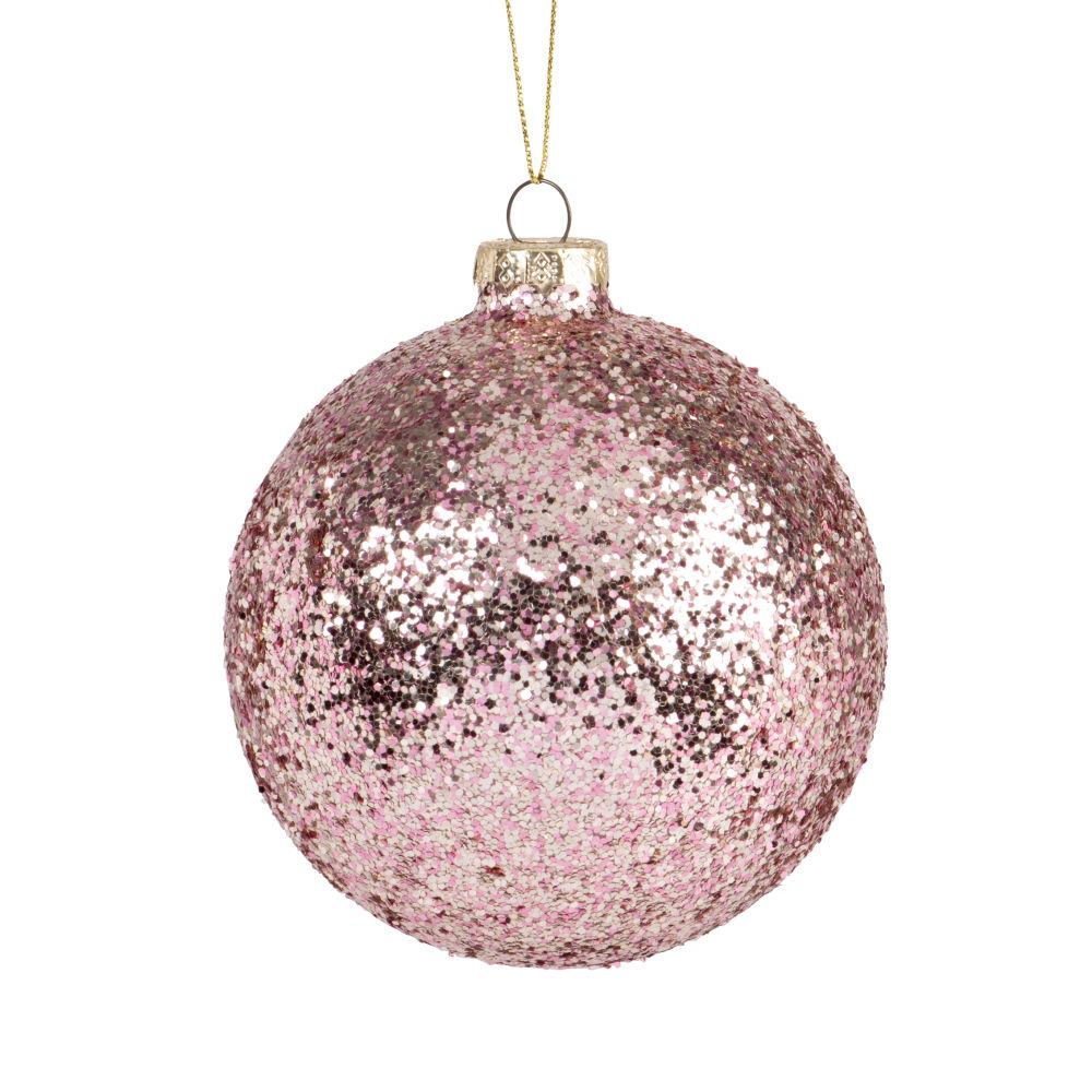 Boule de Noël en verre à paillettes roses