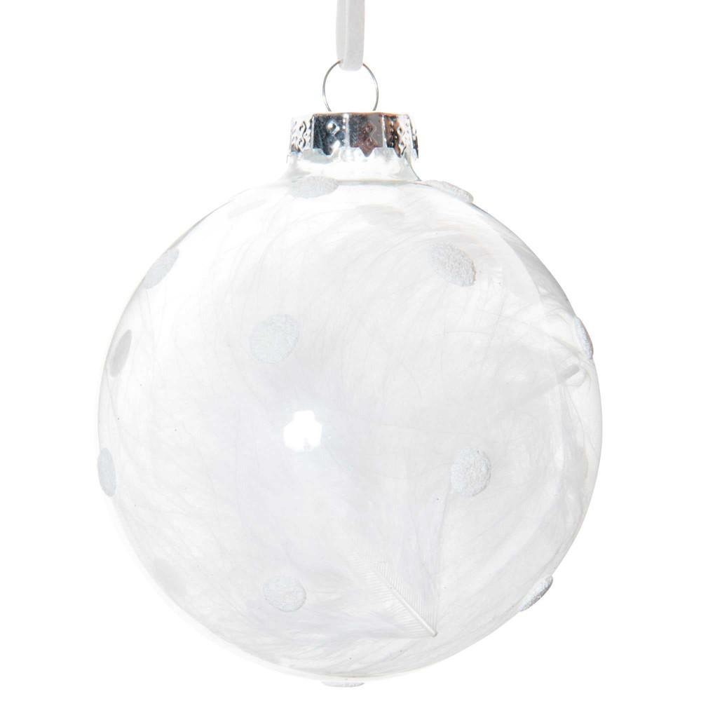 Boule de Noël en verre à pois blanc et plumes blanches