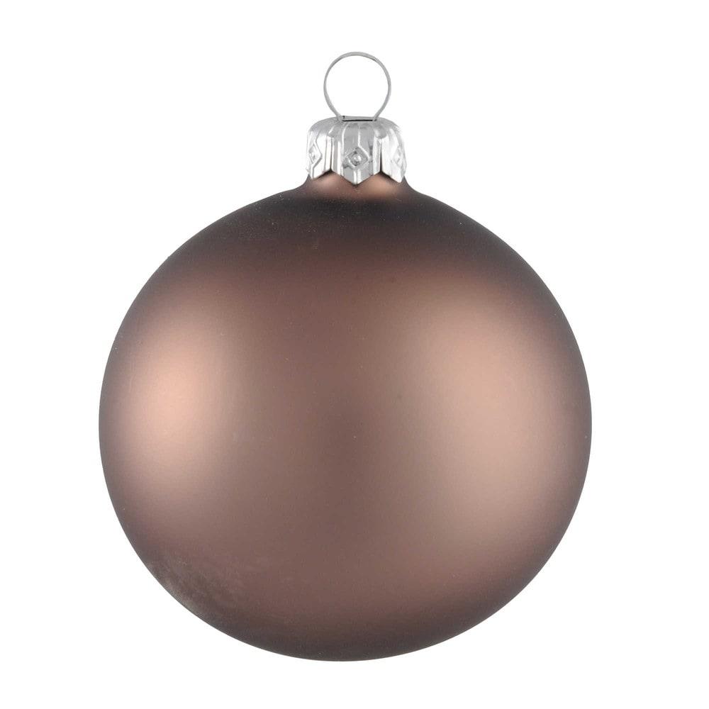 Boule de Noël en verre teinté marron noisette mat