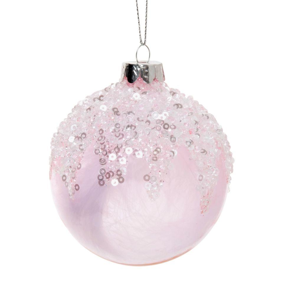 Boule de Noël en verre teinté rose effet sucré