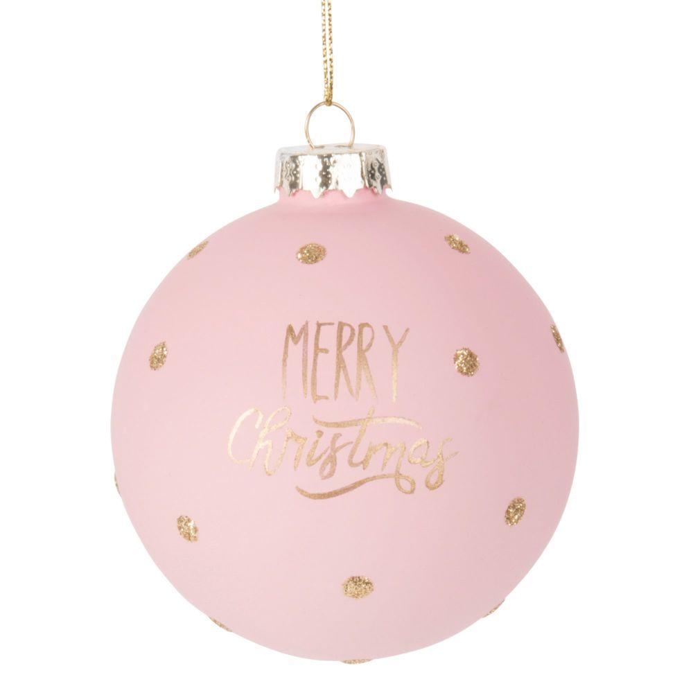 Boule de Noël en verre teinté rose et doré
