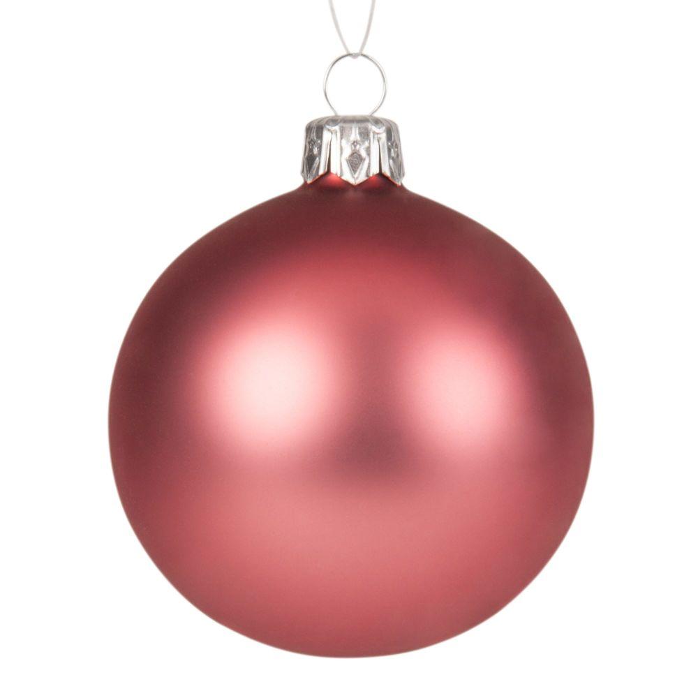 Boule de Noël en verre teinté rose mat