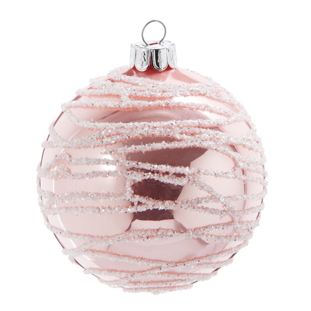 Boule de Noël en verre teinté rose motifs argentés