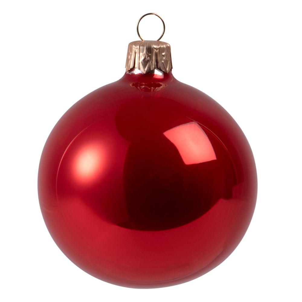 Boule de Noël en verre teinté rouge