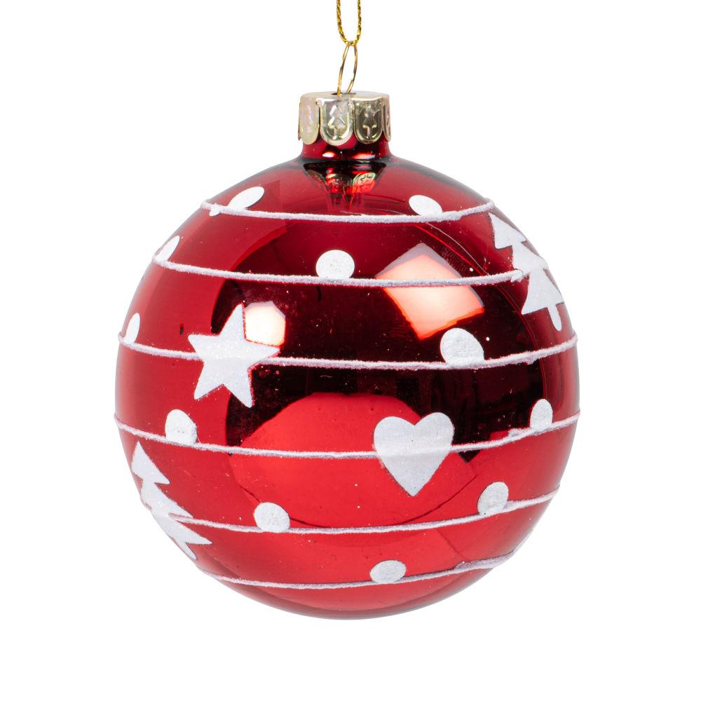 Boule de Noël en verre teinté rouge à motifs blancs