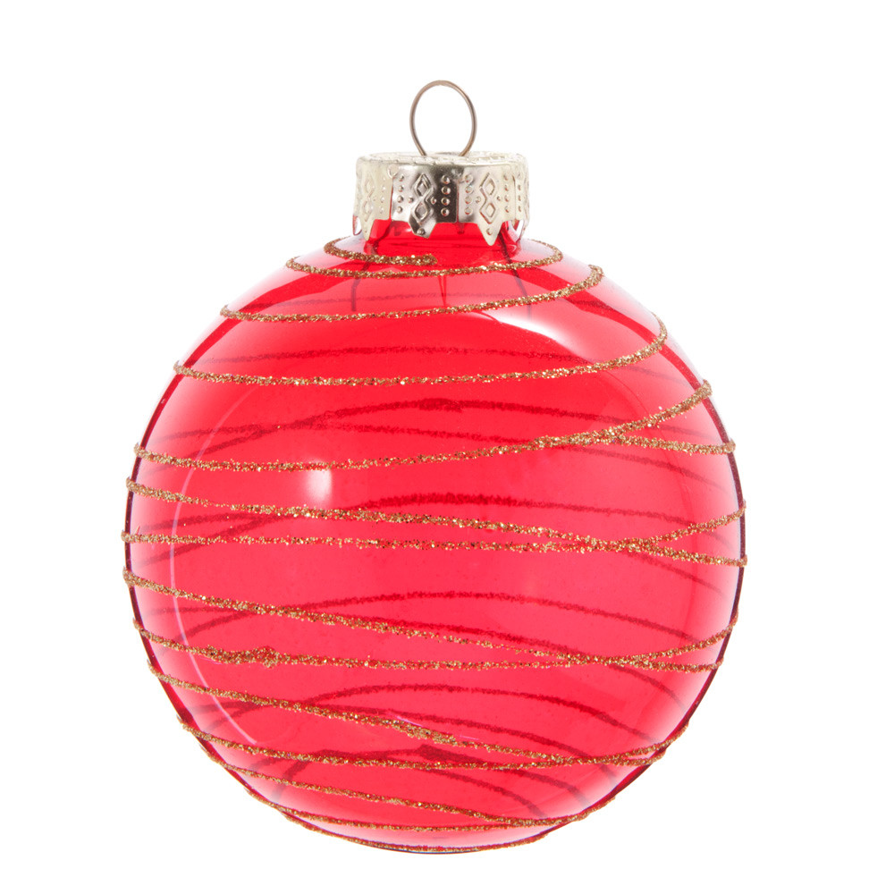Boule de Noël en verre teinté rouge à motifs dorés