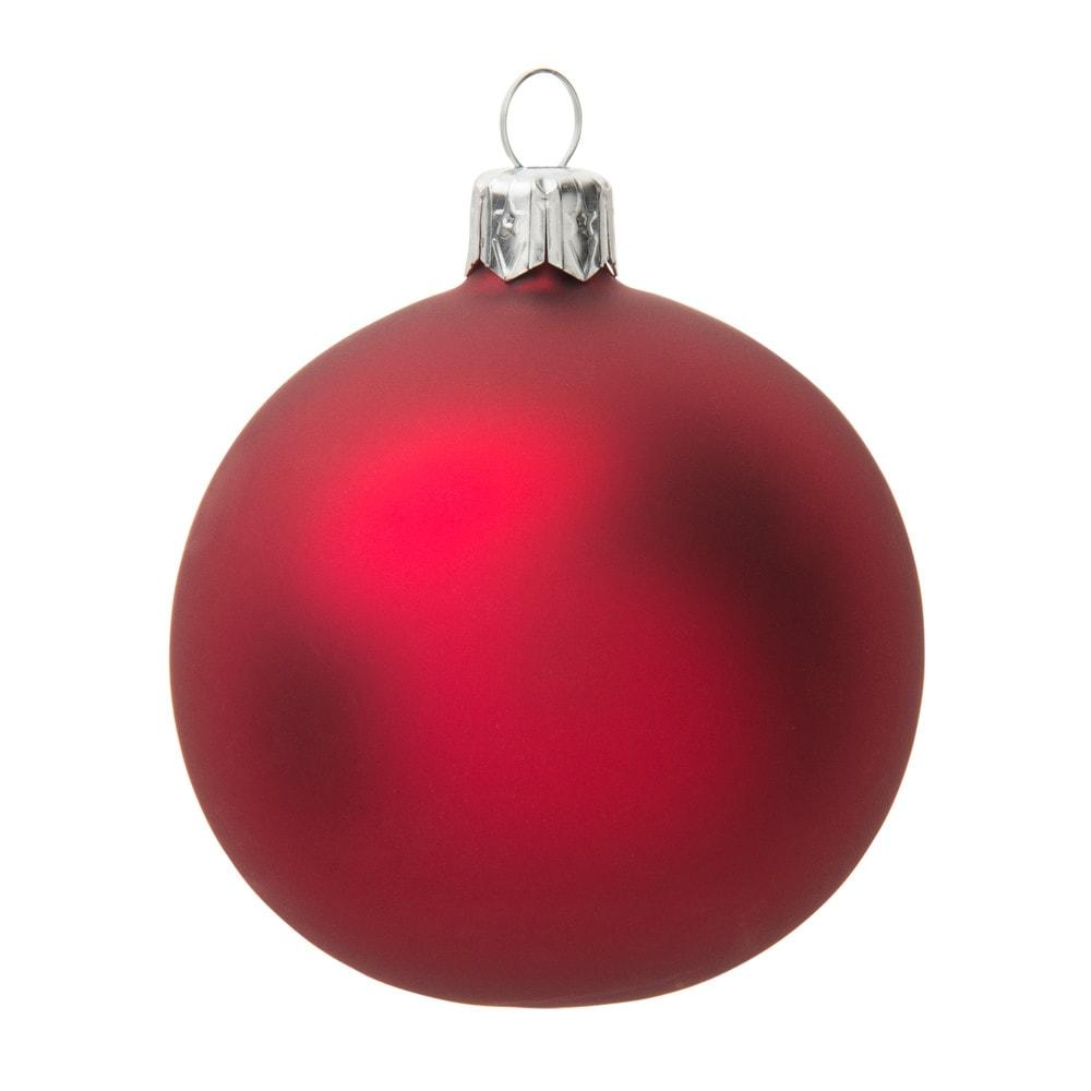 Boule de Noël en verre teinté rouge carmin mat