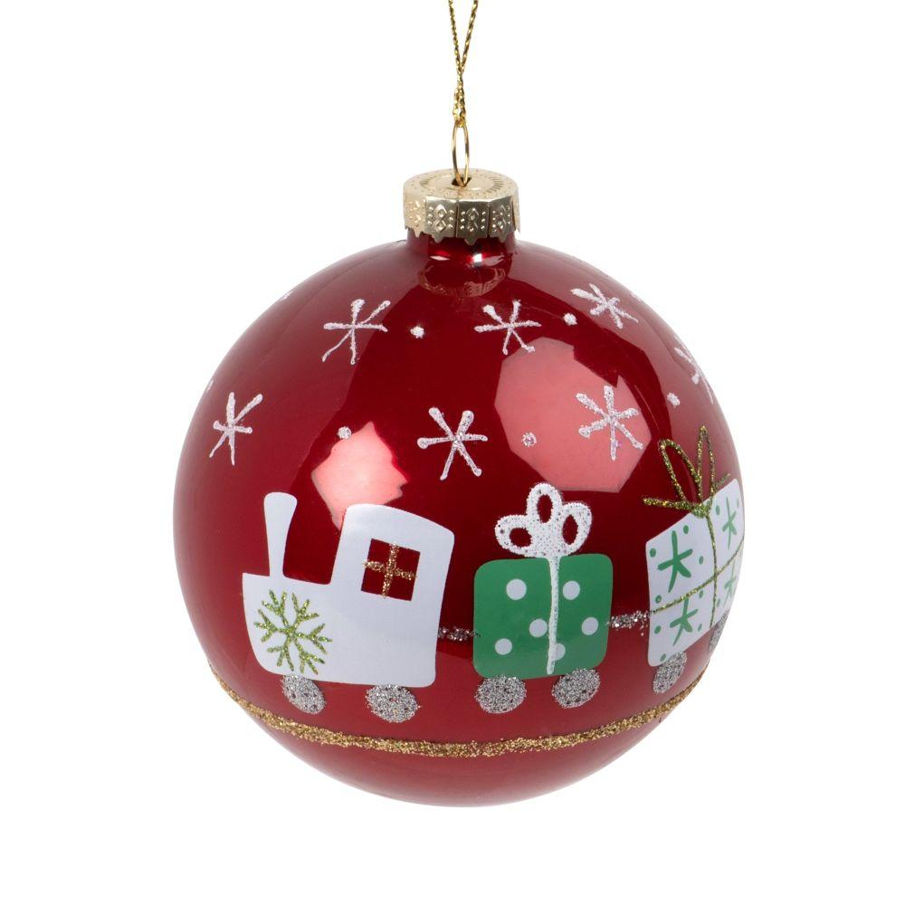 Boule de Noël en verre teinté rouge imprimé petit train