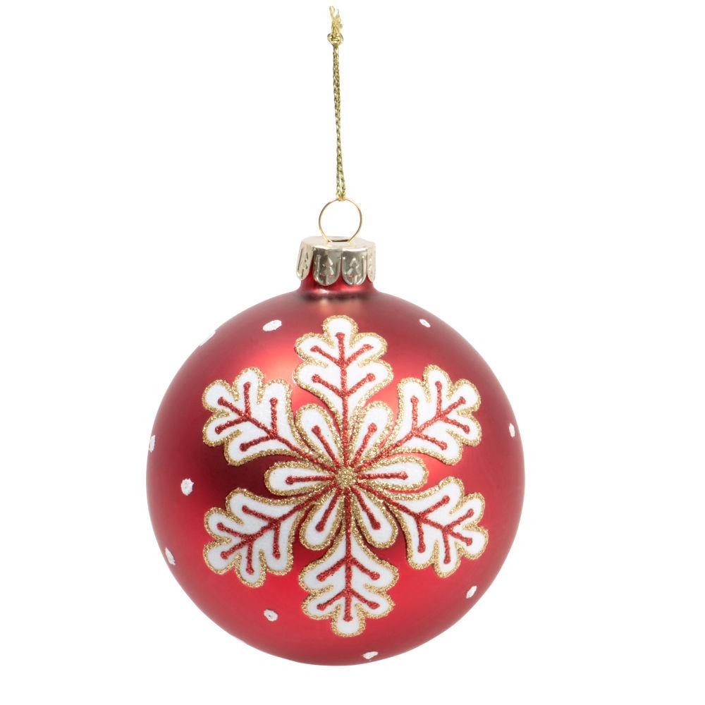 Boule de Noël en verre teinté rouge motif flocon de neige blanc