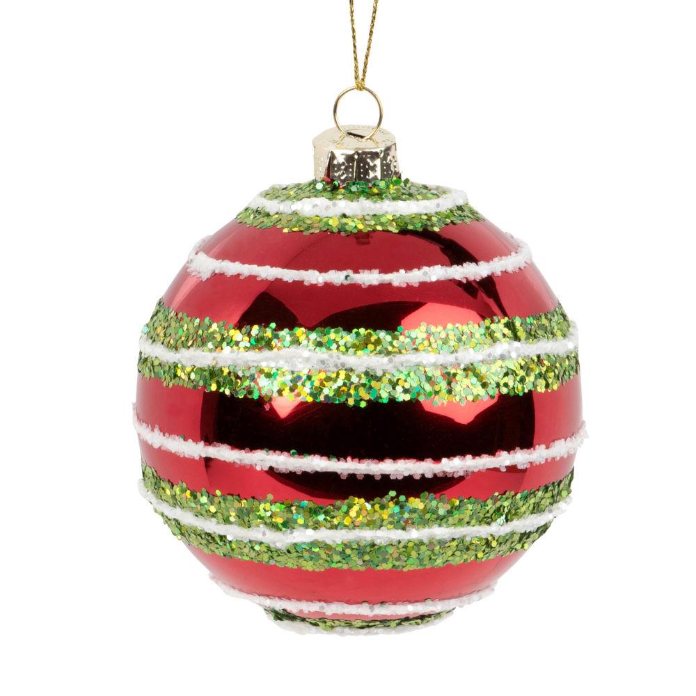 Boule de Noël en verre teinté rouge motifs à rayures vertes et blanches