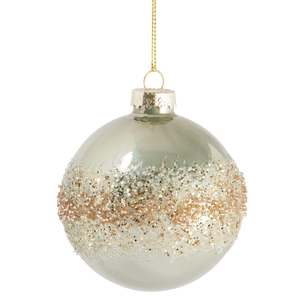 Boule de Noël en verre teinté vert clair, paillettes et perles dorées et blanches
