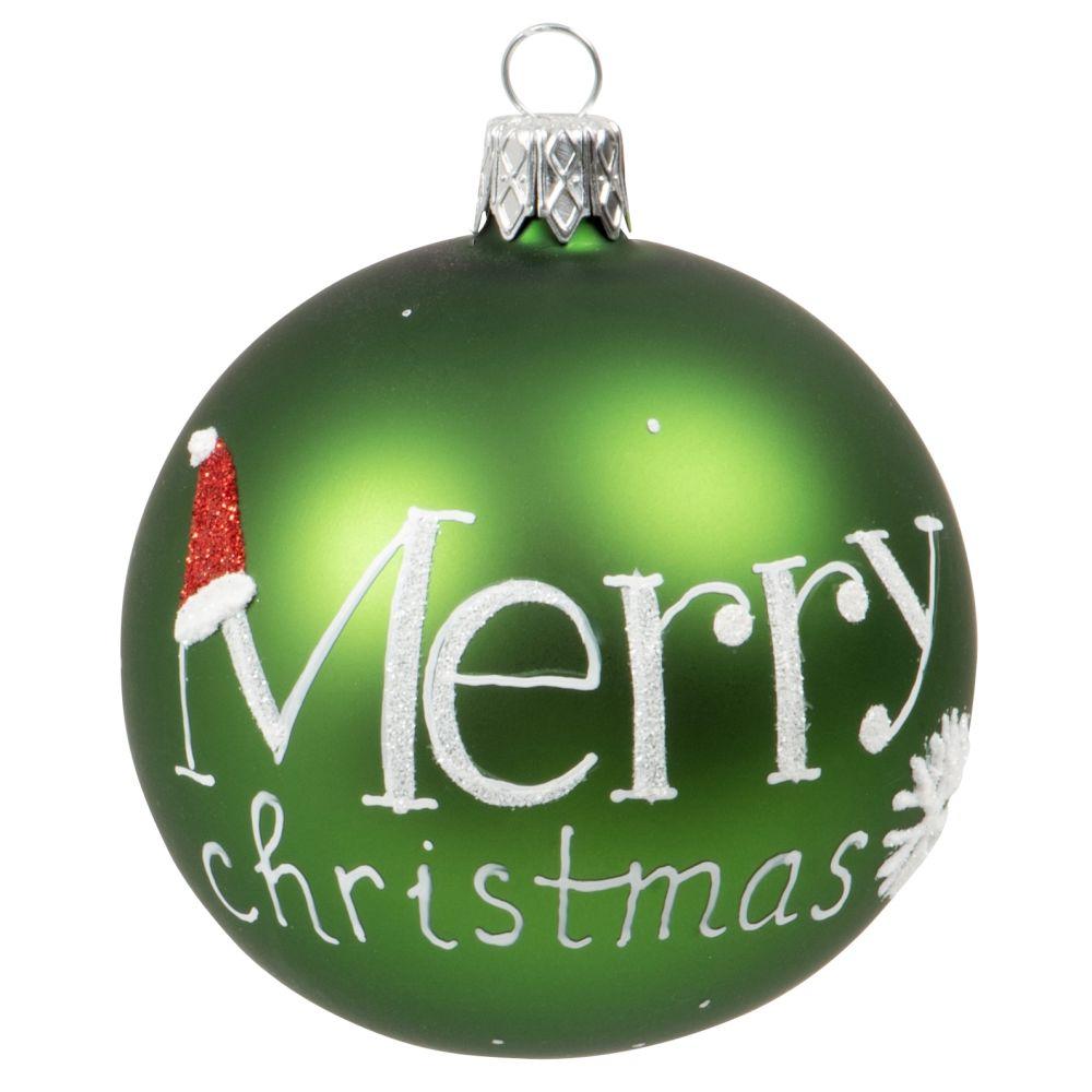 Boule de Noël en verre teinté vert imprimé blanc