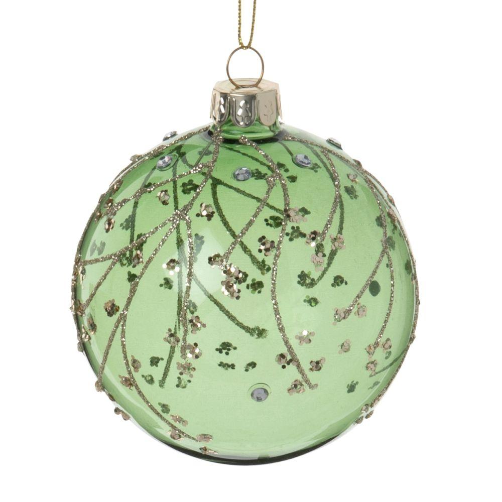 Boule de Noël en verre teinté vert, lignes en paillettes dorées et strass argentées