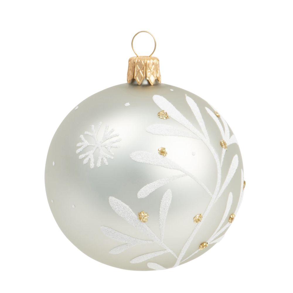 Boule de Noël en verre teinté vert olive motif feuillage blanc et doré