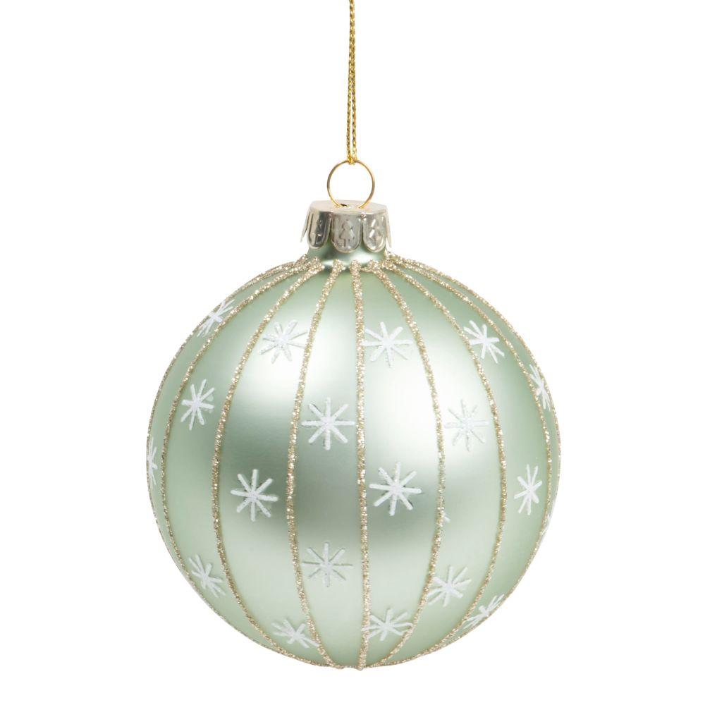 Boule de Noël en verre teinté vert, stries pailletées et motif étoiles blanches