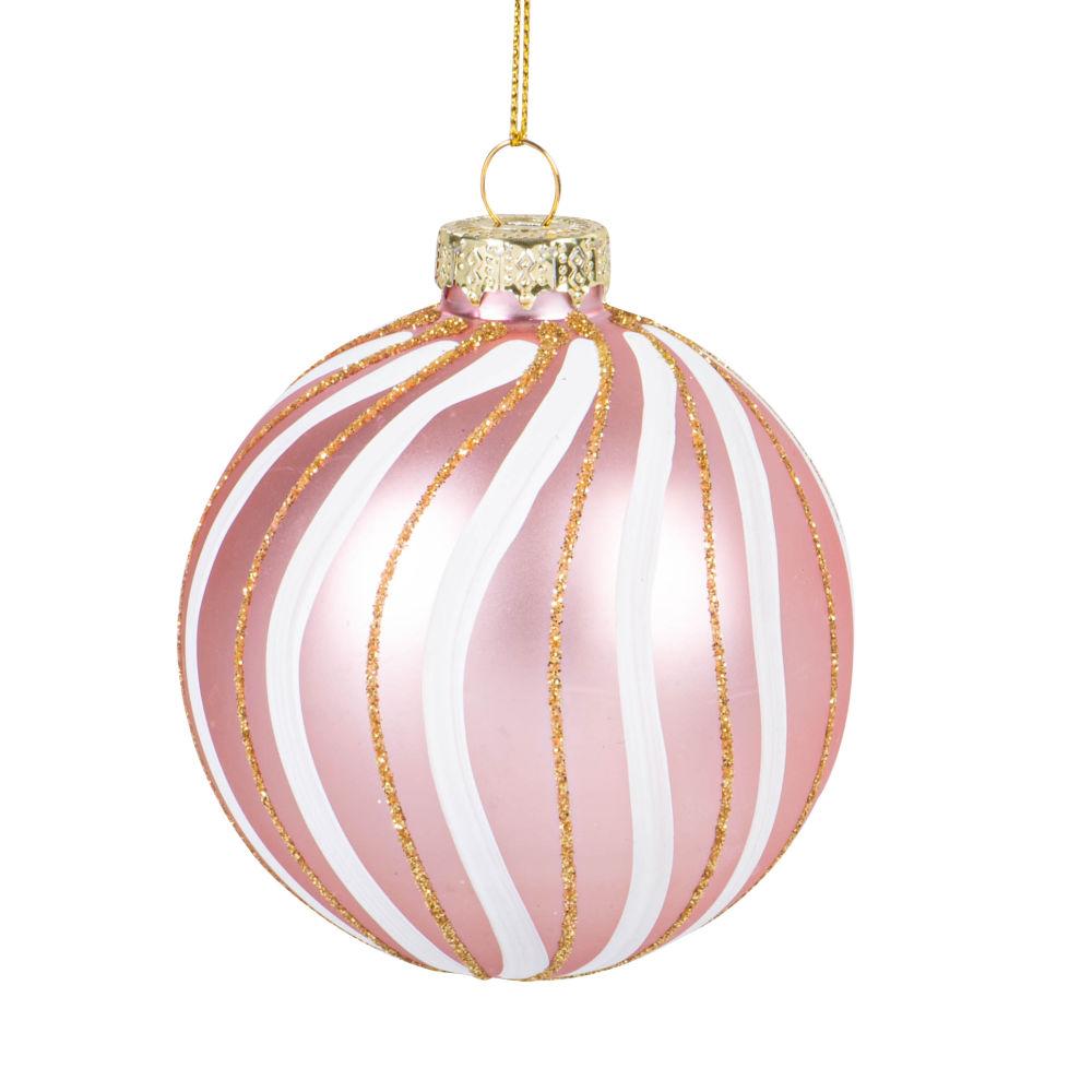 Boule de Noël en verre teinté vieux rose, blanc et paillettes dorées