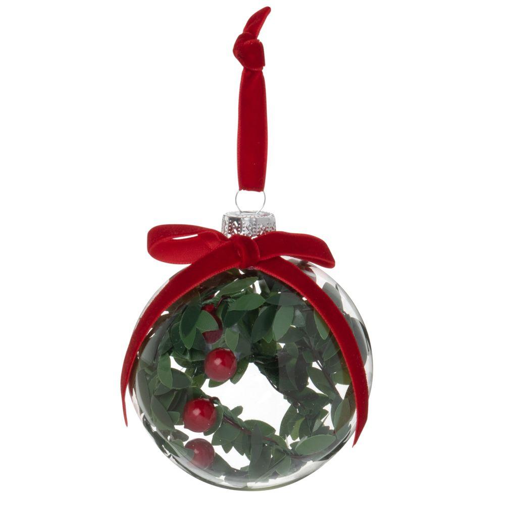 Boule de Noël en verre transparent et houx vert et rouge