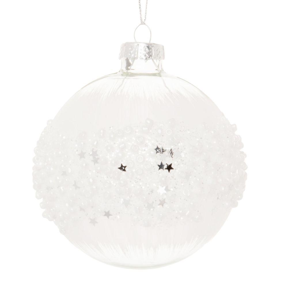 Boule de Noël en verre transparent et teinté blanc et perles blanches