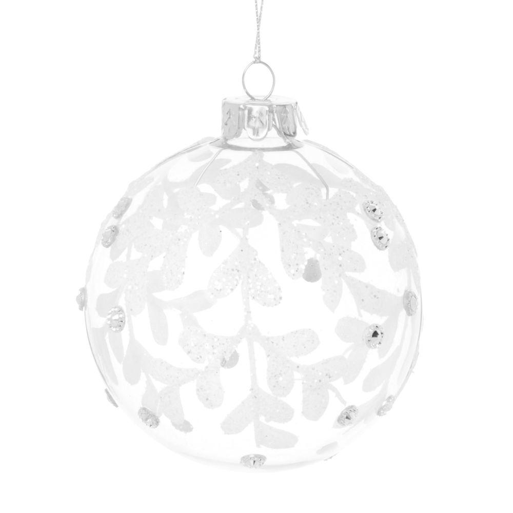 Boule de Noël en verre transparent motif feuillage à paillettes blanches