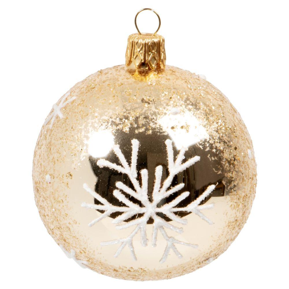 Boule de Noël en verre transparent motif flocon blanc